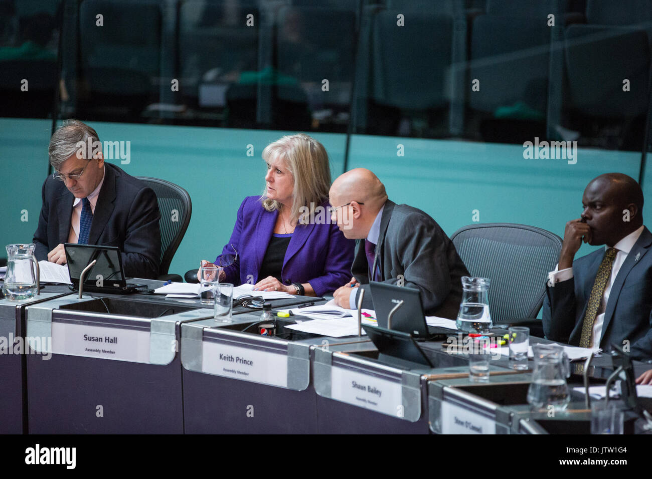 London, UK. 10th August, 2017. London Assembly Members Tony Devenish, Susan Hall, Keith Prince and Shaun Bailey Stock Photo
