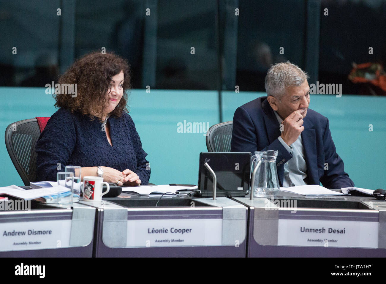 London, UK. 10th August, 2017. London Assembly Members Leonie Cooper and Unmesh Desai listen to Mayor of London Sadiq Khan responding to questions during Mayor's Question Time at City Hall. Among topics discussed were: acid attacks, social housing, expenditure on fire and police services, 4G coverage on underground trains and noise from overnight underground trains. Credit: Mark Kerrison/Alamy Live News - Stock Image