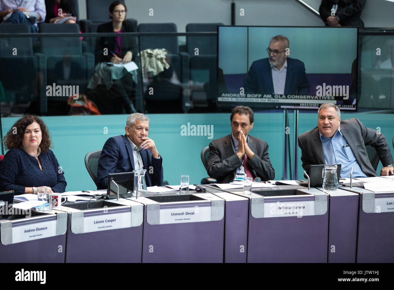 London, UK. 10th August, 2017. London Assembly Members Leonie Cooper, Unmesh Desai, Dr Onkar Sahota and Len Duvall listen to Mayor of London Sadiq Khan responding to questions during Mayor's Question Time at City Hall. Among topics discussed were: acid attacks, social housing, expenditure on fire and police services, 4G coverage on underground trains and noise from overnight underground trains. Credit: Mark Kerrison/Alamy Live News - Stock Image