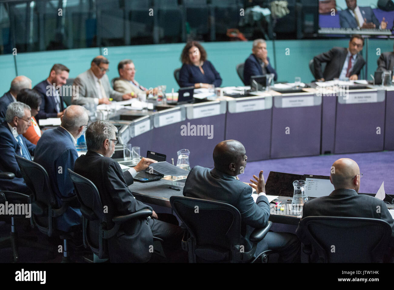 London, UK. 10th August, 2017. London Assembly Members listen to Mayor of London Sadiq Khan responding to questions during Mayor's Question Time at City Hall. Among topics discussed were: acid attacks, social housing, expenditure on fire and police services, 4G coverage on underground trains and noise from overnight underground trains. Credit: Mark Kerrison/Alamy Live News - Stock Image