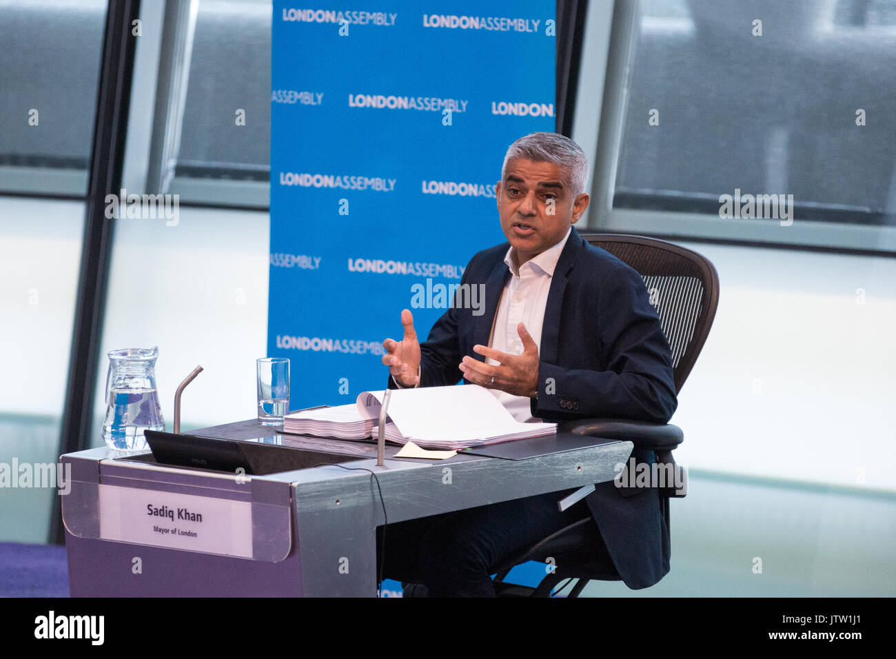 London, UK. 10th August, 2017. Mayor of London Sadiq Khan responds to questions from London Assembly Members during Mayor's Question Time at City Hall. Among topics discussed were: acid attacks, social housing, expenditure on fire and police services, 4G coverage on underground trains and noise from overnight underground trains. Credit: Mark Kerrison/Alamy Live News - Stock Image