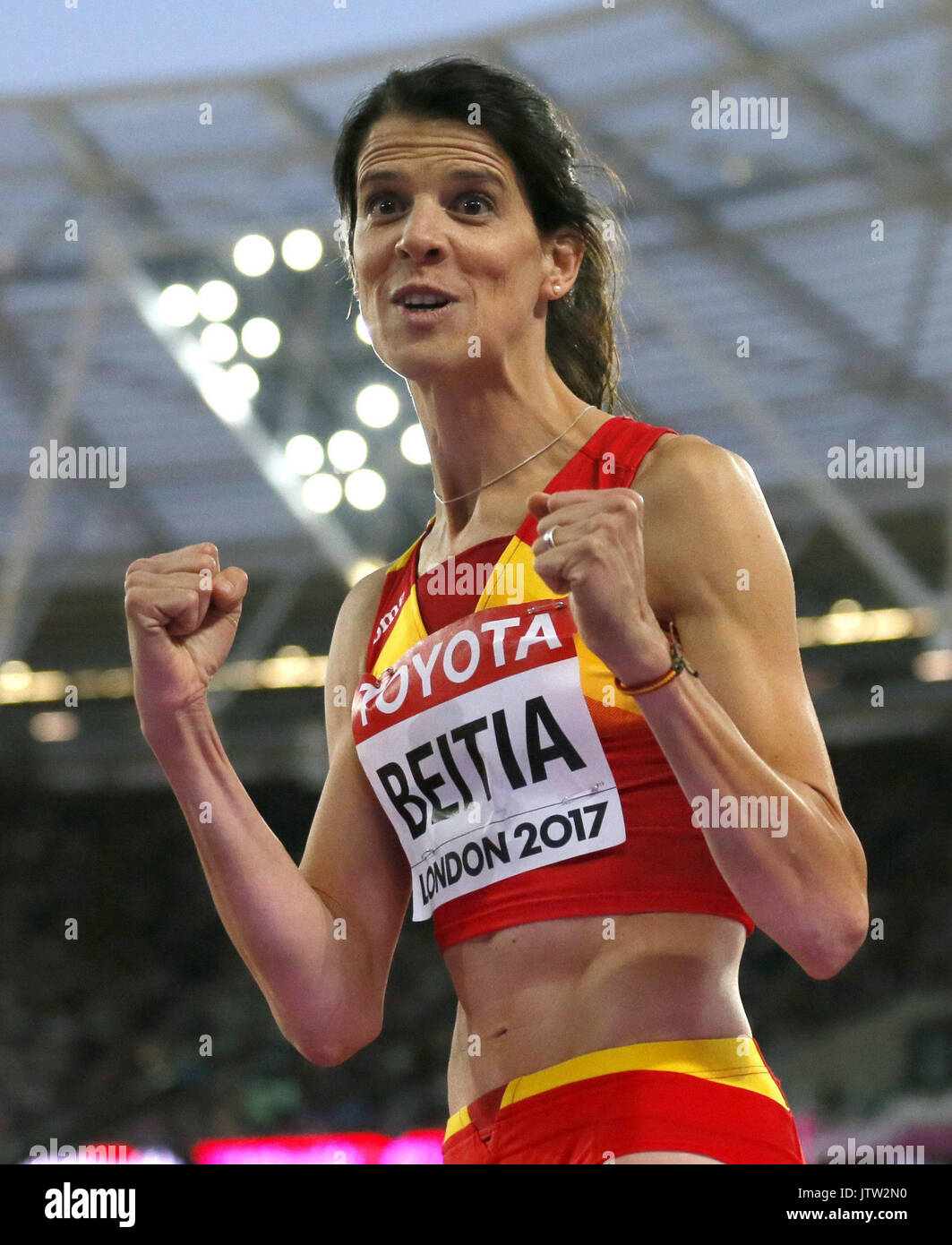 London, UK. 10th August, 2017. Spanish Ruth Beitia after a jump of the World Athletics Championships 2017 in London, Stock Photo