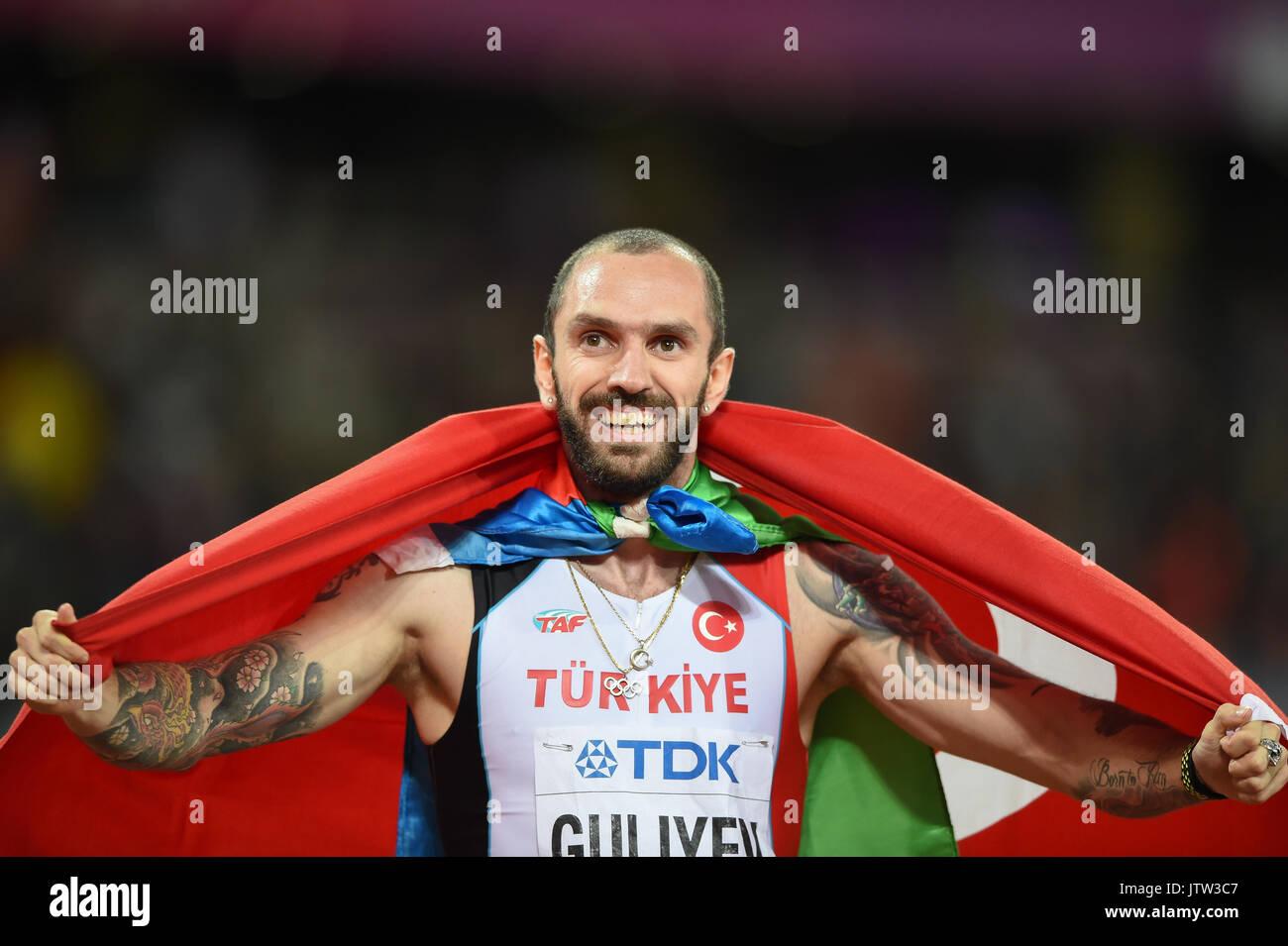 London, UK. 10th Aug, 2017. Ramil Guliyev, Turkey, winning mens 200 meter final in London at the 2017 IAAF World Stock Photo