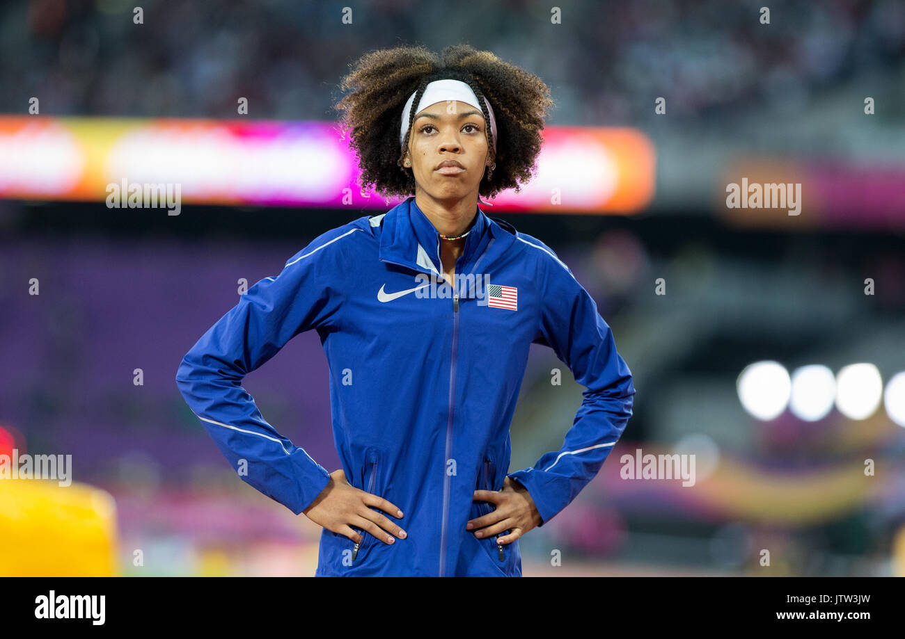London, UK. 10th August, 2017. VASHTI CUNNINGHAM of USA during the High Jump during the IAAF World Athletics Championships Stock Photo