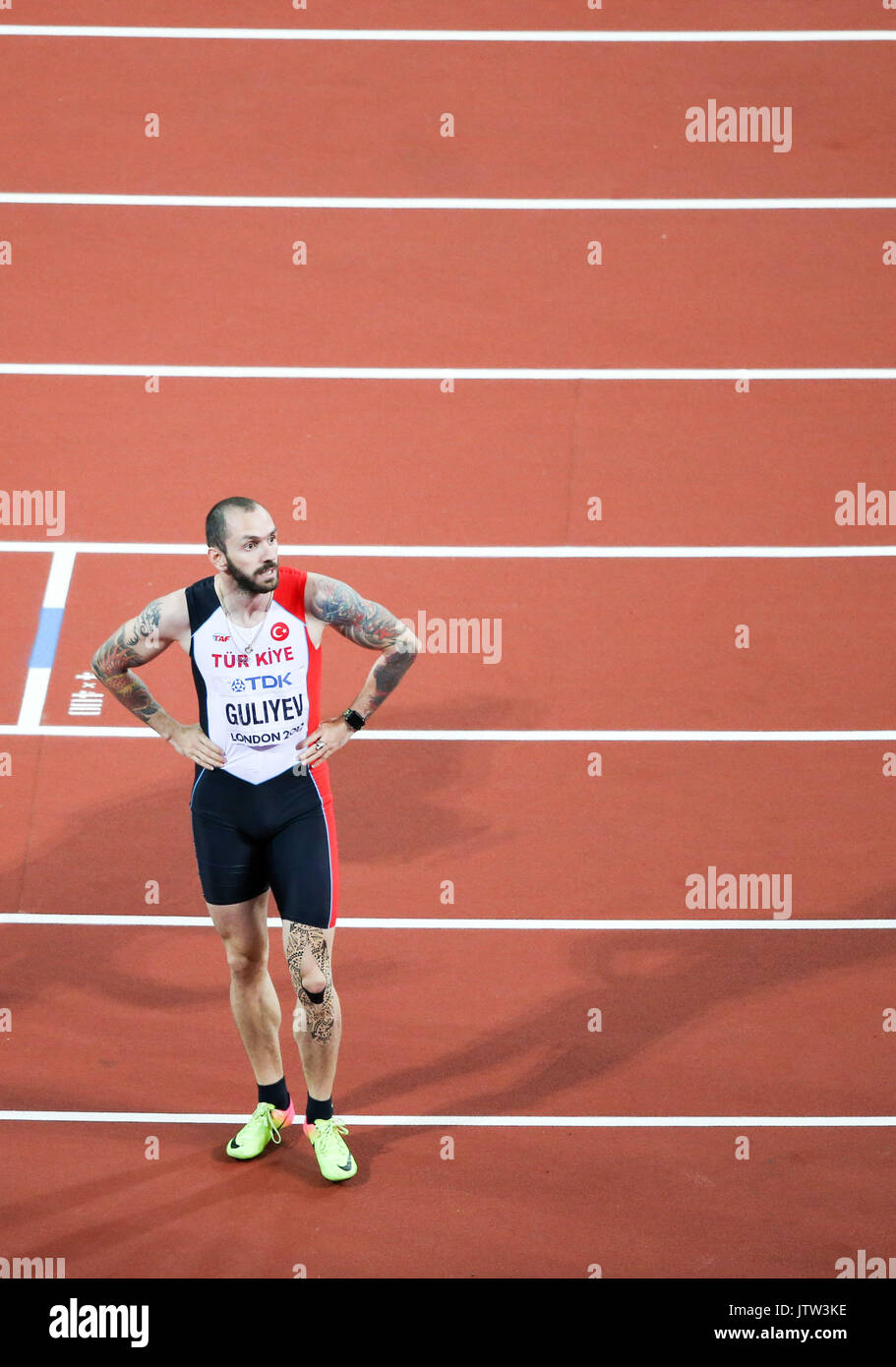 London, UK. 10th August, 2017. Ramil Guliyev, Turkey, rests after winning the \m200mf\ on day seven of the IAAF Stock Photo
