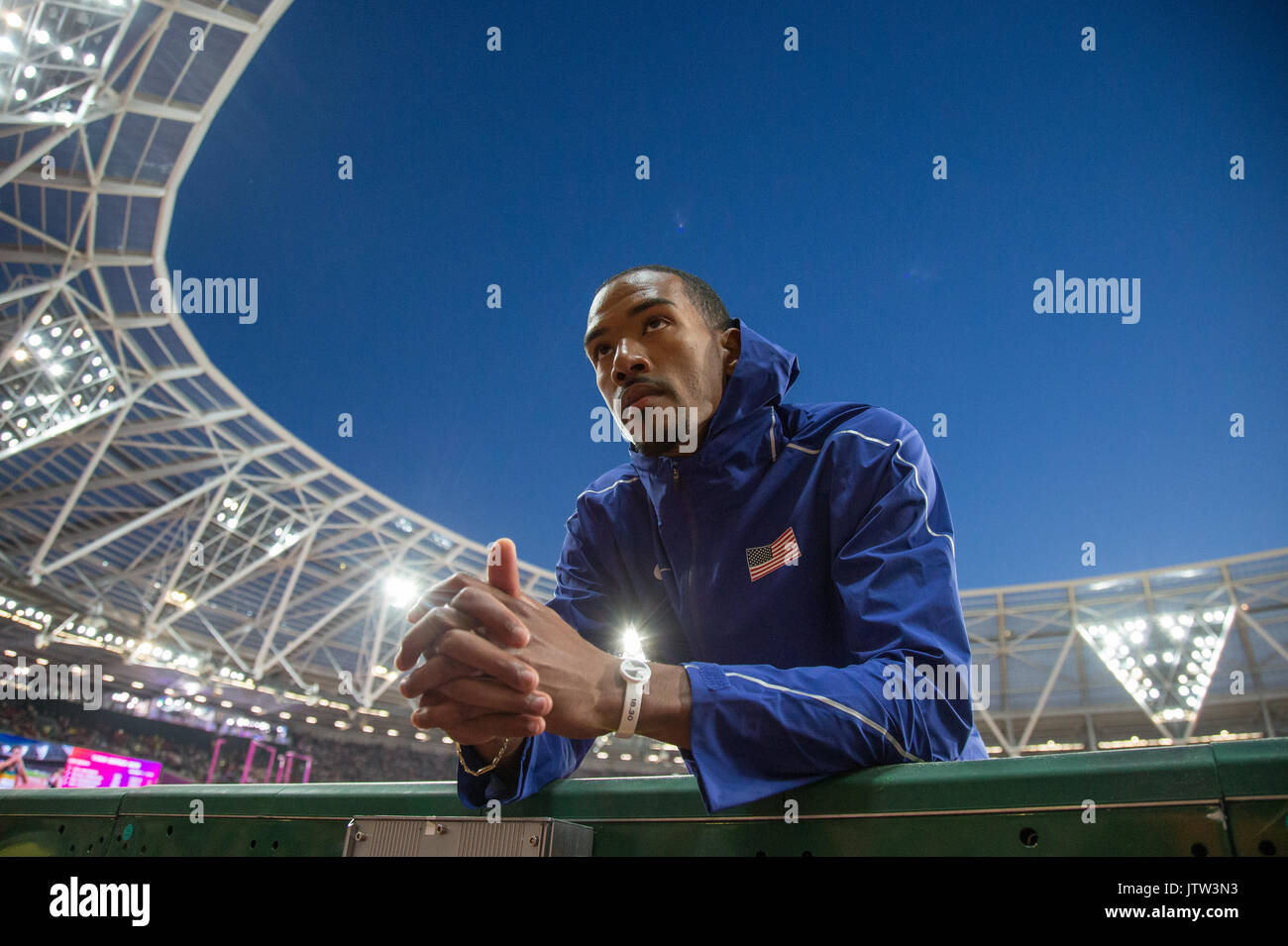 London, UK. 10th August, 2017. CHRISTIAN TAYLOR of USA during the Triple Jump in which he wins Gold during the IAAF World Athletics Championships 2017 - Day 7 at the Olympic Park, London, England on 10 August 2017. Photo by Andy Rowland. Credit: Andrew Rowland/Alamy Live News - Stock Image