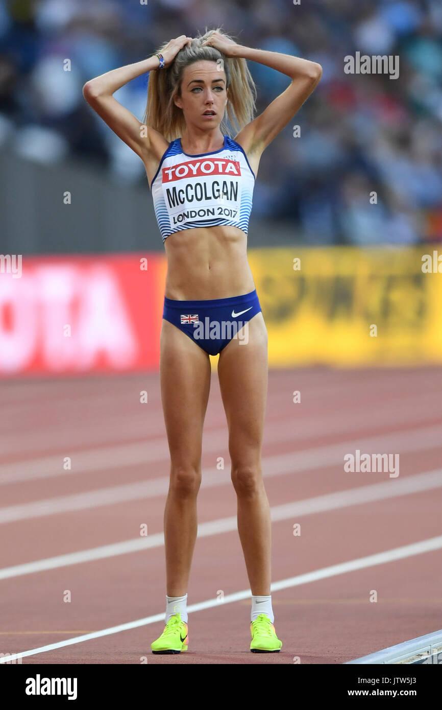 London, UK.  10 August 2017.  Eilish McColgan (GB) on the start line in the women's 5000m heats at the London Stadium, Stock Photo