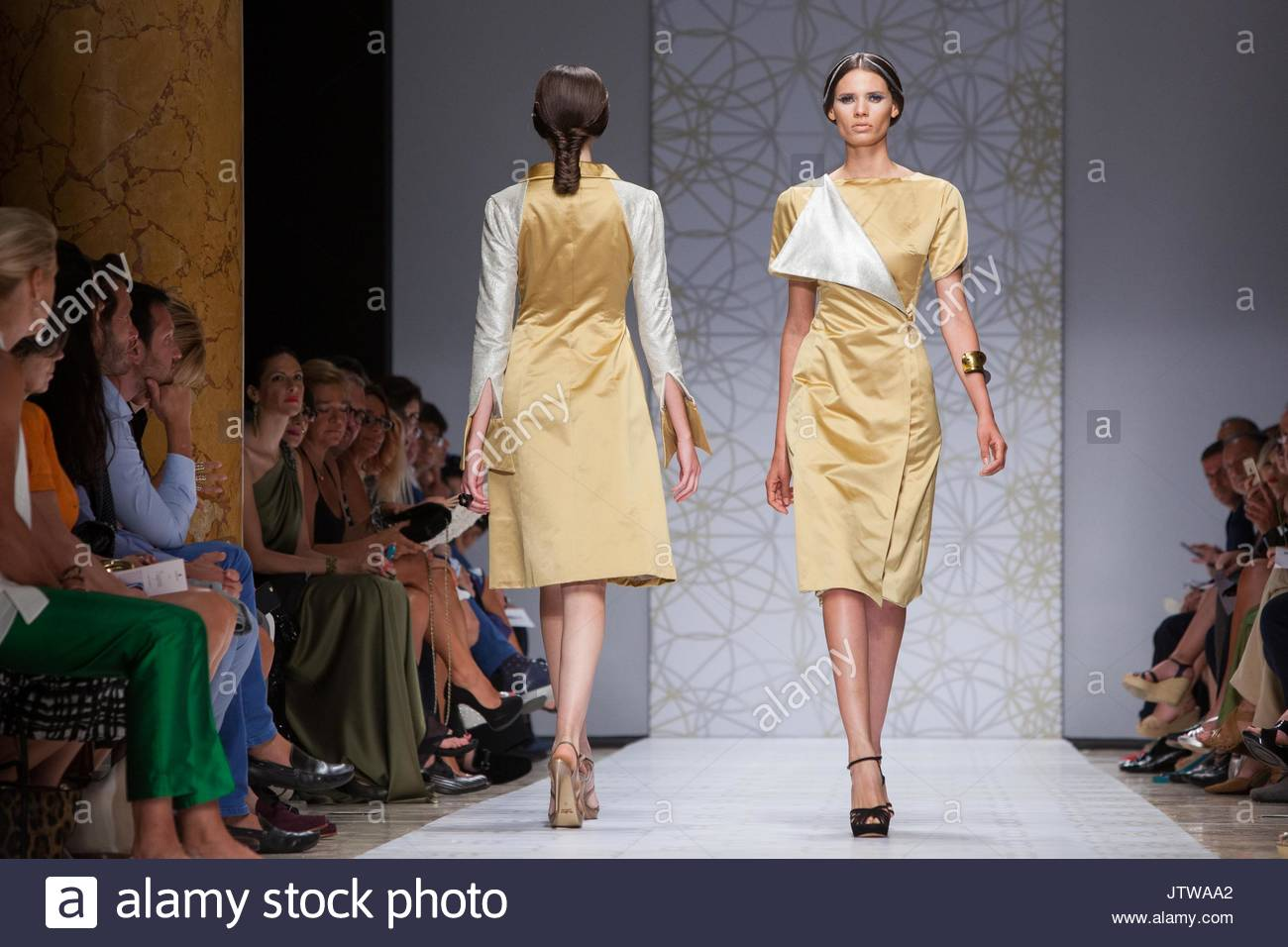 7a5eab9df5 Models present creations from the Fall/Winter 2015-2016 collection by  Sabrina Persechino during the AltaRoma fashion week on July 12, 2015 in Rome,  Italy.
