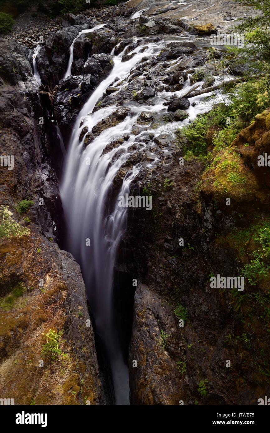 Waterfall in Englishman River Falls Provincial Park. Errington, Vancouver Island, BC, Canada - Stock Image