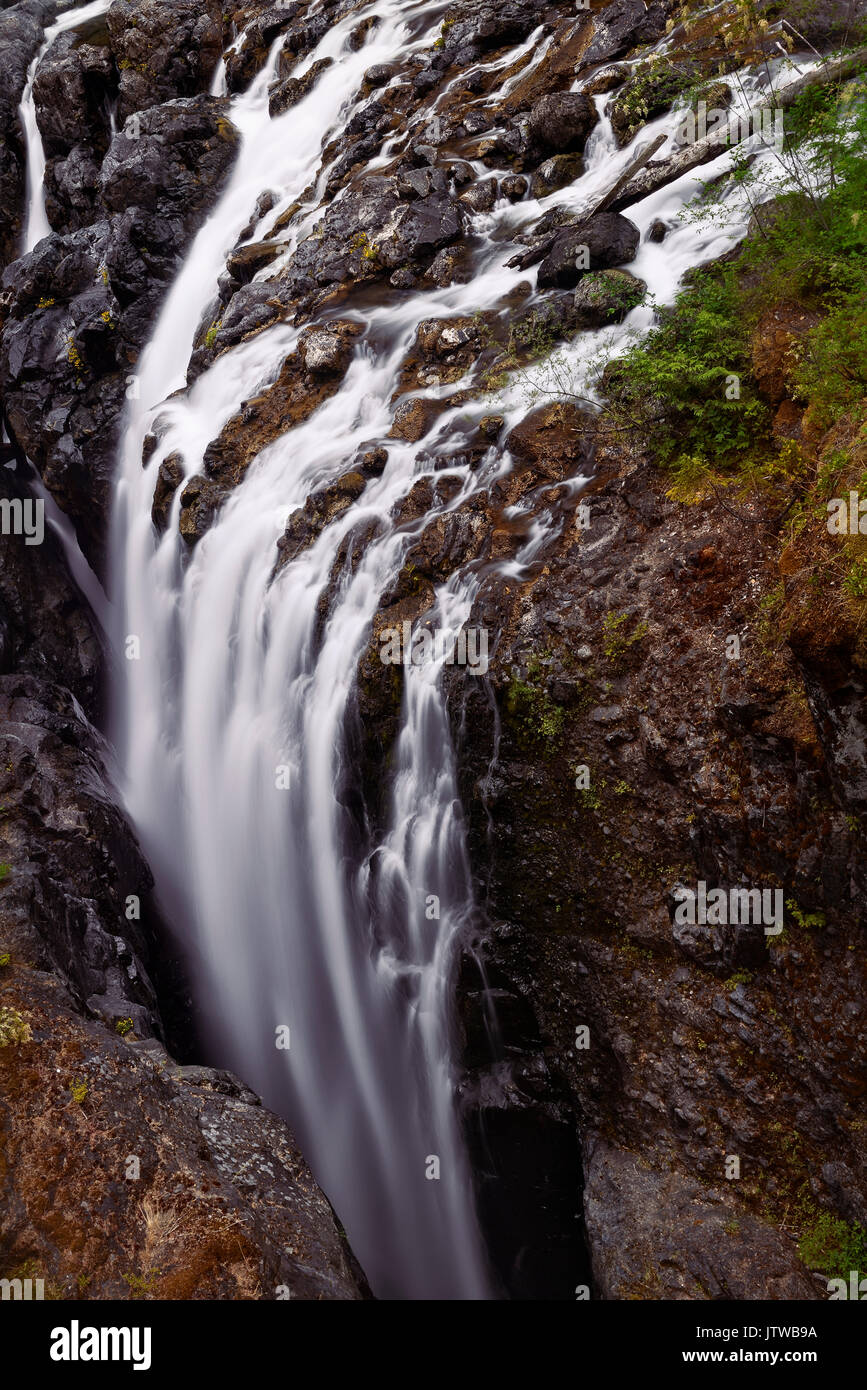 Aerial nature scenery of a waterfall at Englishman River Falls Provincial Park. Errington, Vancouver Island, BC, Canada - Stock Image