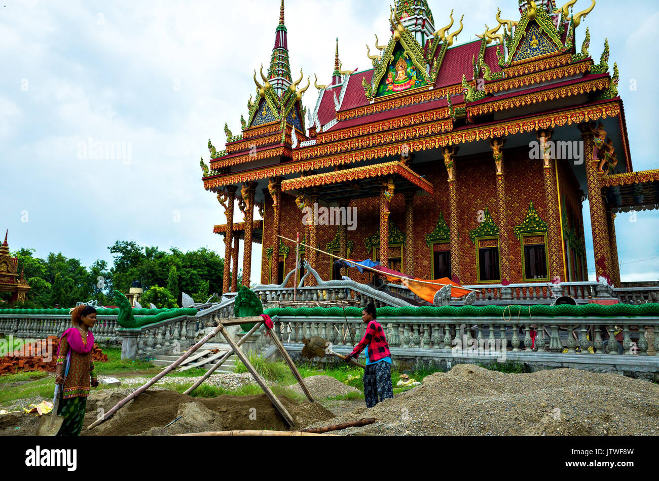 Buddhist monastery built by Combodia under reconstruction, Lumbini ...