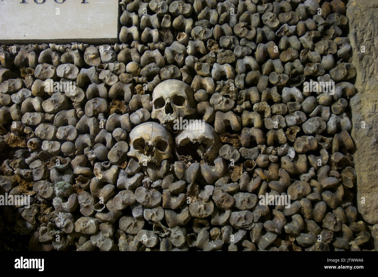 skulls and bones decorating the walls of the Catacombs in Paris, France - Stock Image