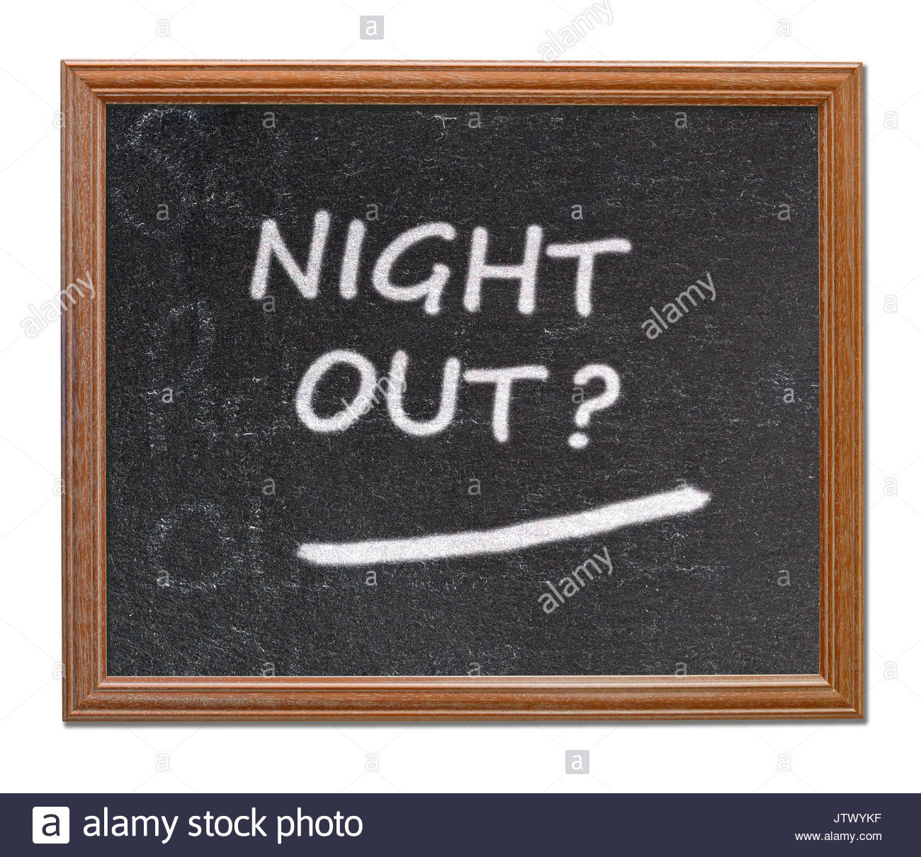 Night out? written on a blackboard, Blandford, Dorset, England, UK Stock Photo