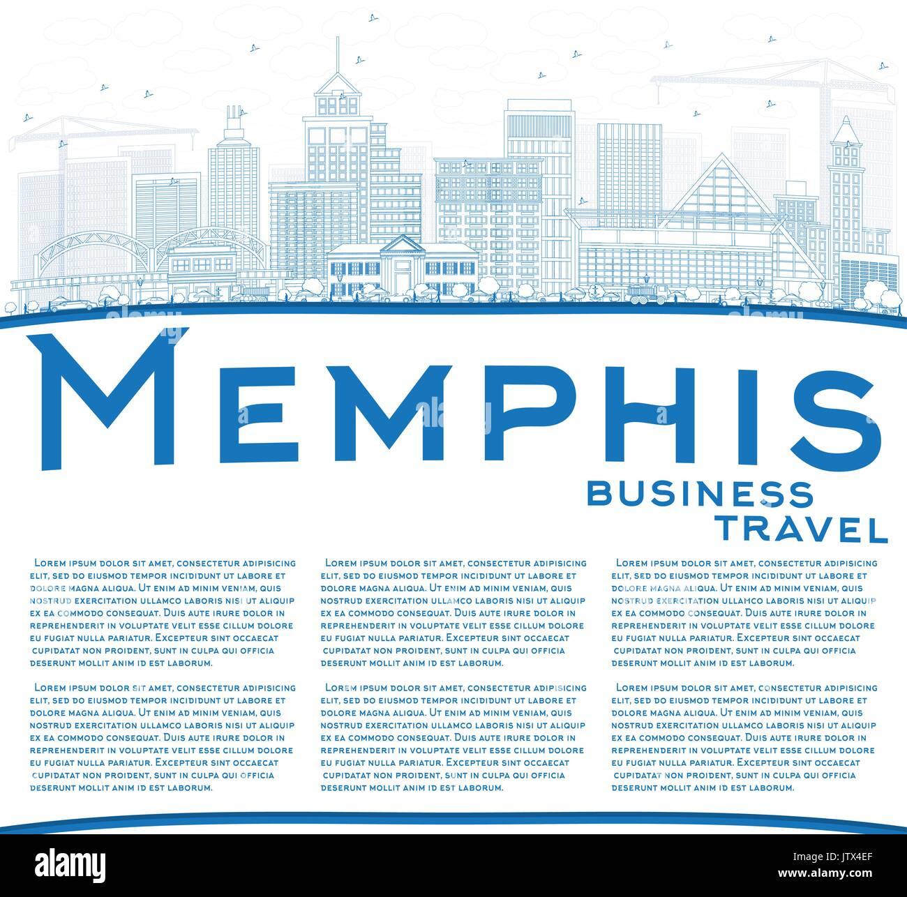 Tennessee outline stock photos tennessee outline stock images alamy outline memphis skyline with blue buildings and copy space vector illustration business travel and malvernweather Images
