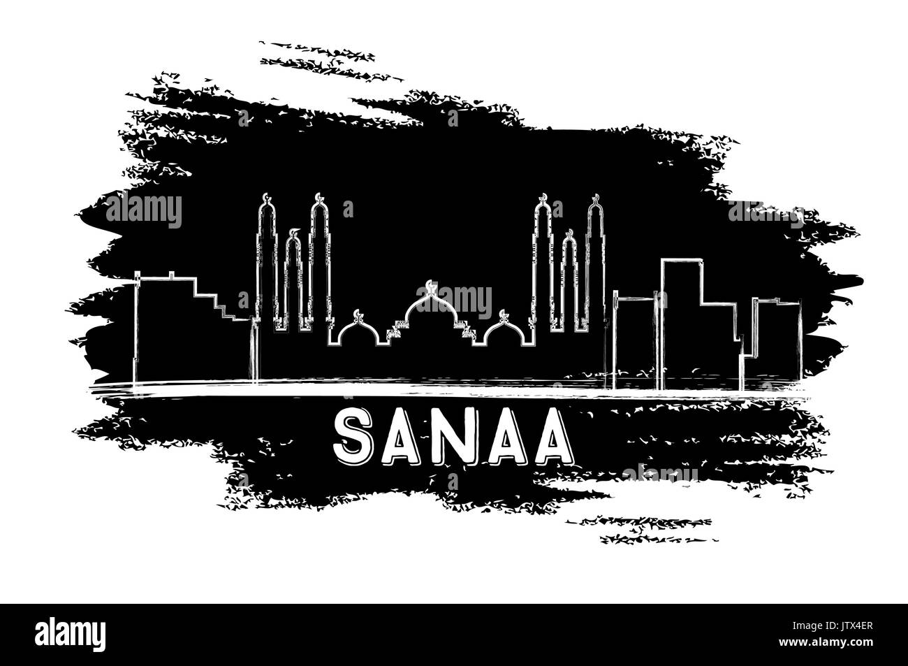 Sanaa (Yemen) Skyline Silhouette. Hand Drawn Sketch. Vector Illustration. Business Travel and Tourism Concept with Modern Architecture. - Stock Image