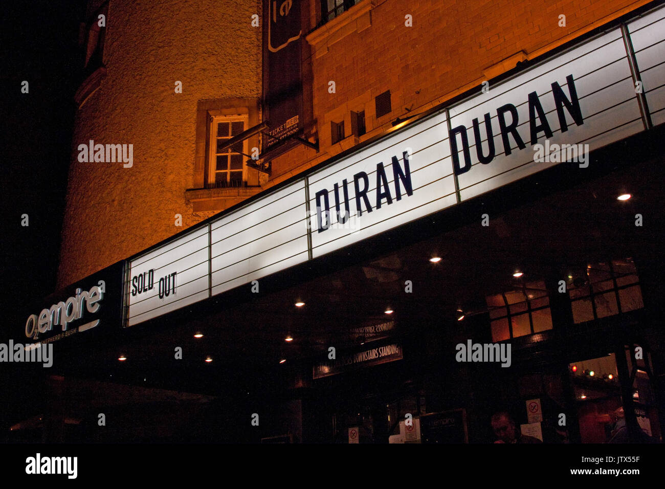 Exterior of London's O2 Shepherds Bush Empire, displaying Duran Duran Sold Out - Stock Image