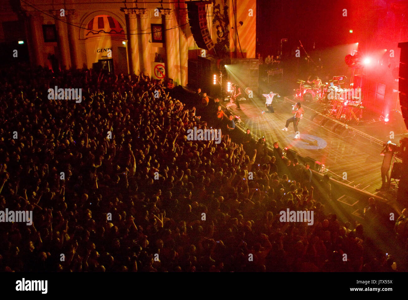 The Prodigy, live at Brixton Academy, 12th December 2008 Liam Howlett Keith Flint Maxim Reality Stock Photo