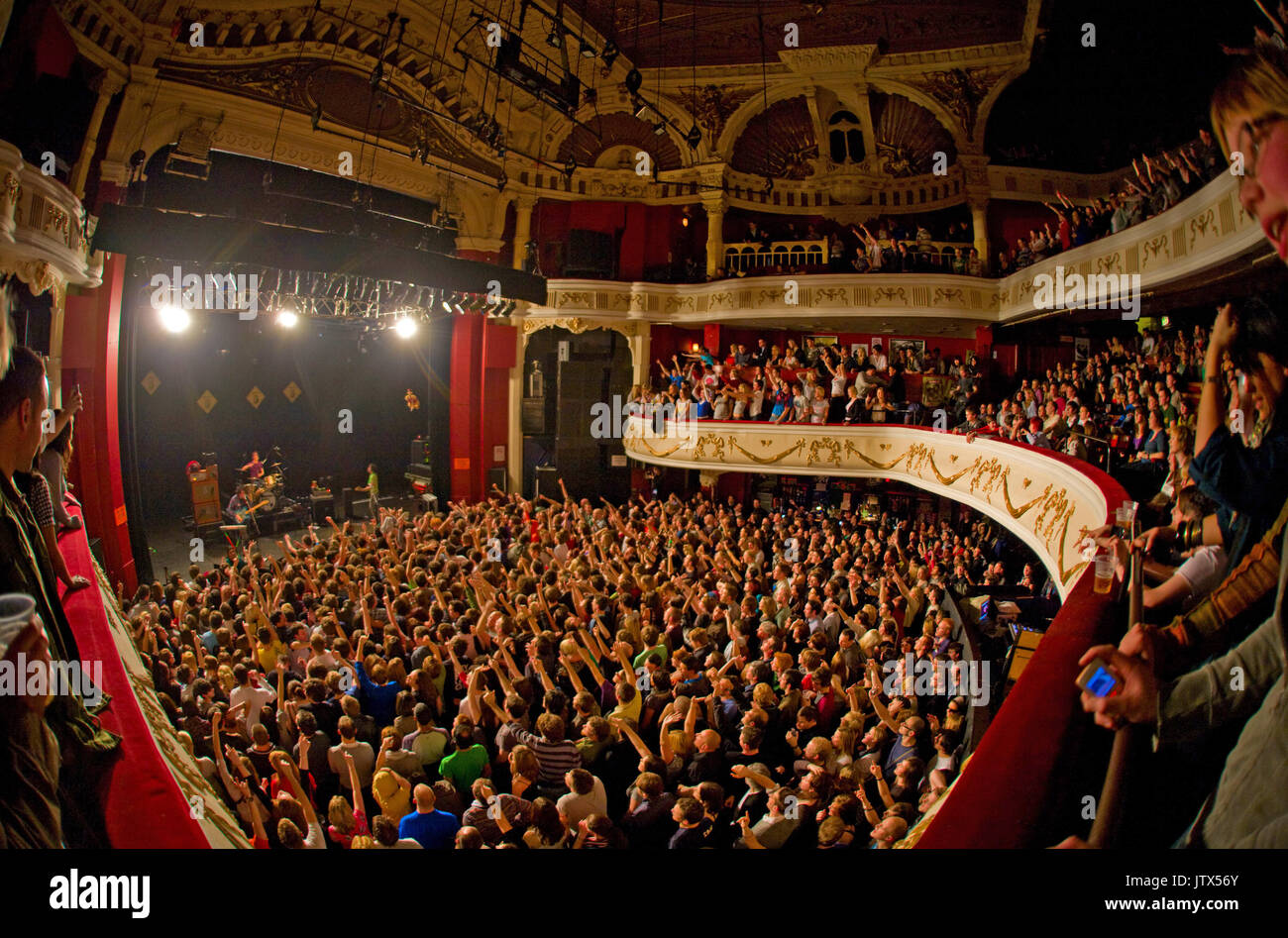 Wide view of the auditorium showing fans at  a Wombats live show, Shepherds Bush Empire - Stock Image