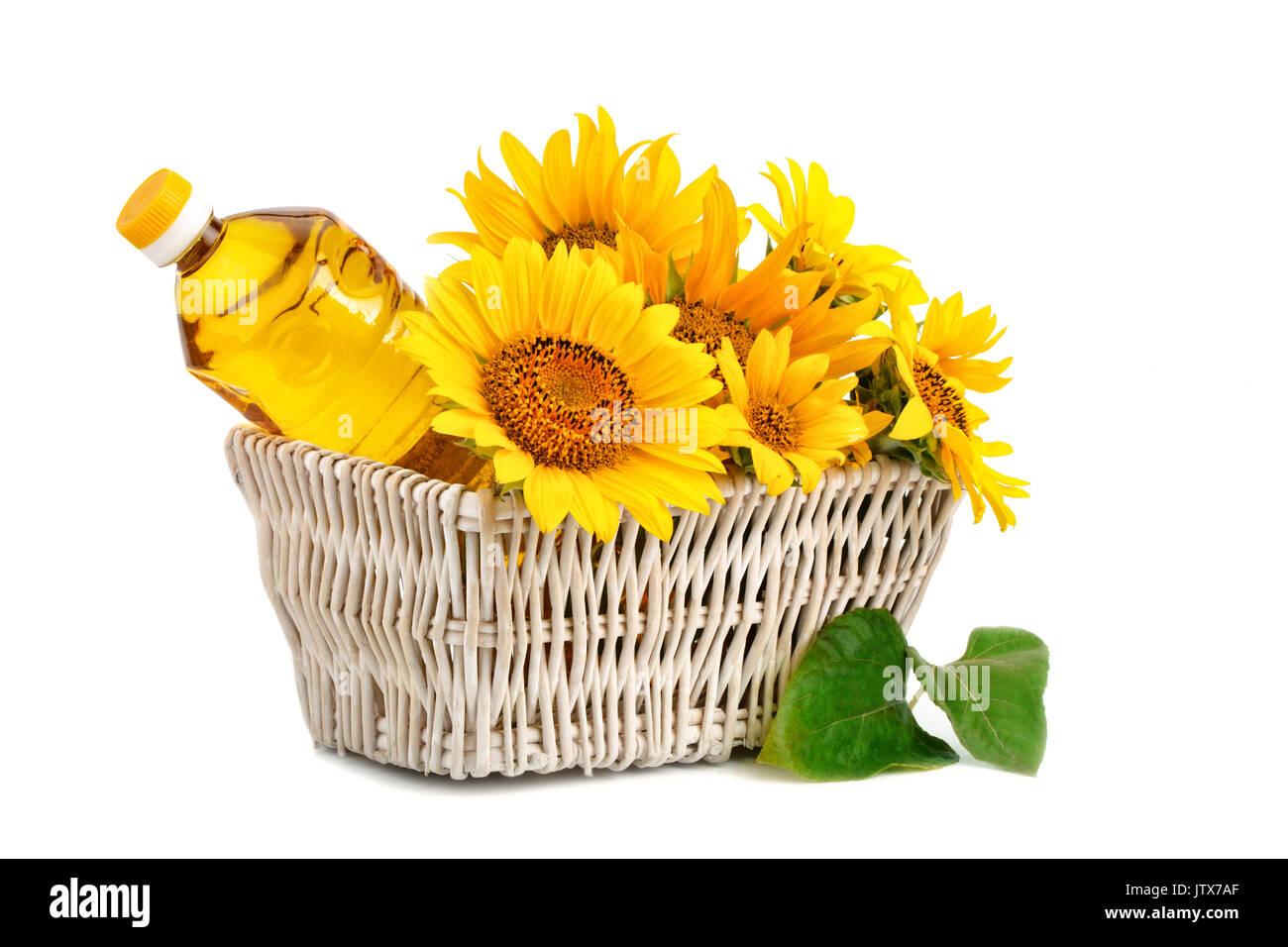 Beautiful flowers of sunflower and sunflower oil in a rustic basket beautiful flowers of sunflower and sunflower oil in a rustic basket stock photo 153011223 alamy izmirmasajfo