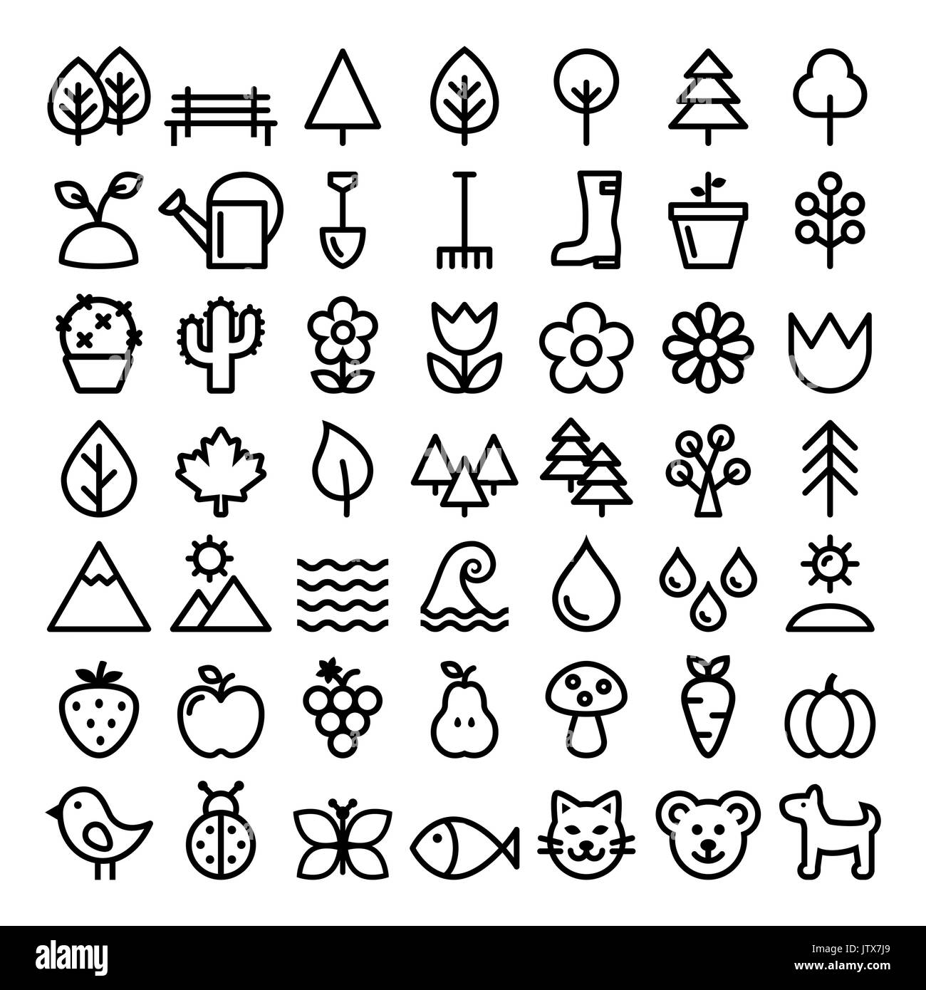 Nature vector line icons, minimalist park, animals, ecology, organic food design - big pack - Stock Vector