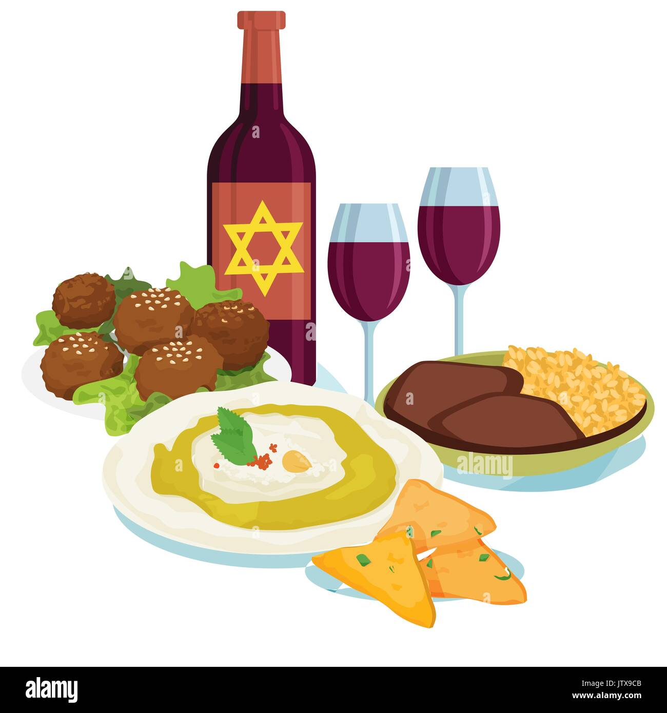 Traditional dinner for Jewish New Year Holiday Rosh Hashahah. - Stock Image