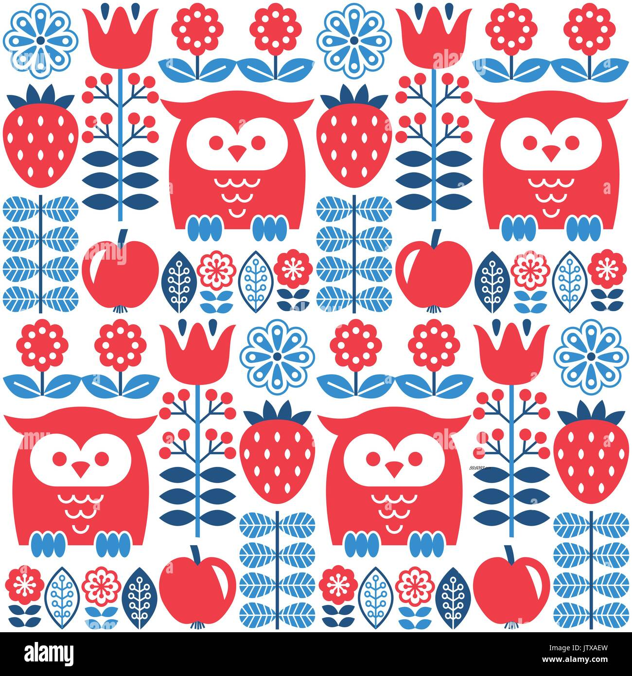 Scandinavian seamless cute pattern with owl and flower, inspired by Swedish and Finnish folk art, Nordic style - Stock Vector