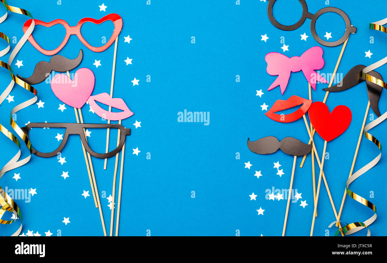 Party Background With Funny Props On A Blue Background Wedding