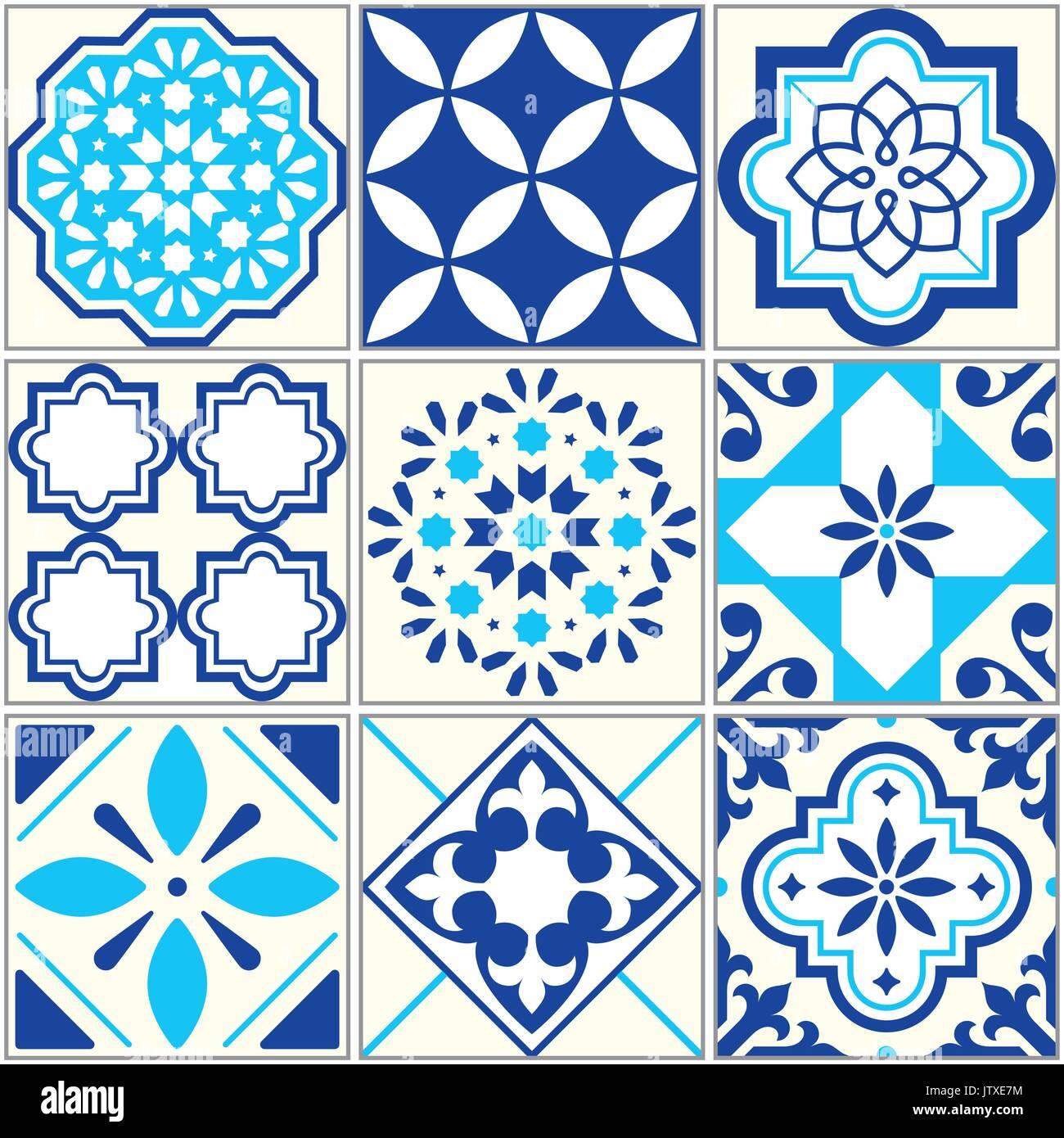 Vector tiles blue pattern, Lisbon floral mosaic, Mediterranean seamless ornament - Azulejos - Stock Vector