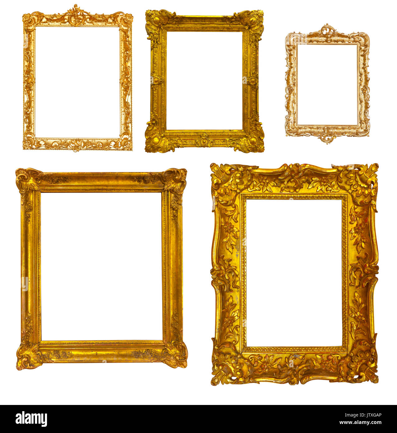 Set of luxury gilded frames. Isolated over white background, may be ...