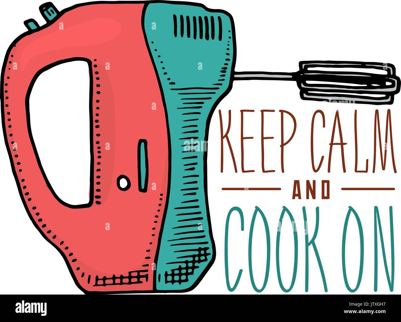 mixer or kitchen utensils, stuff for menu decoration. baking logo ...