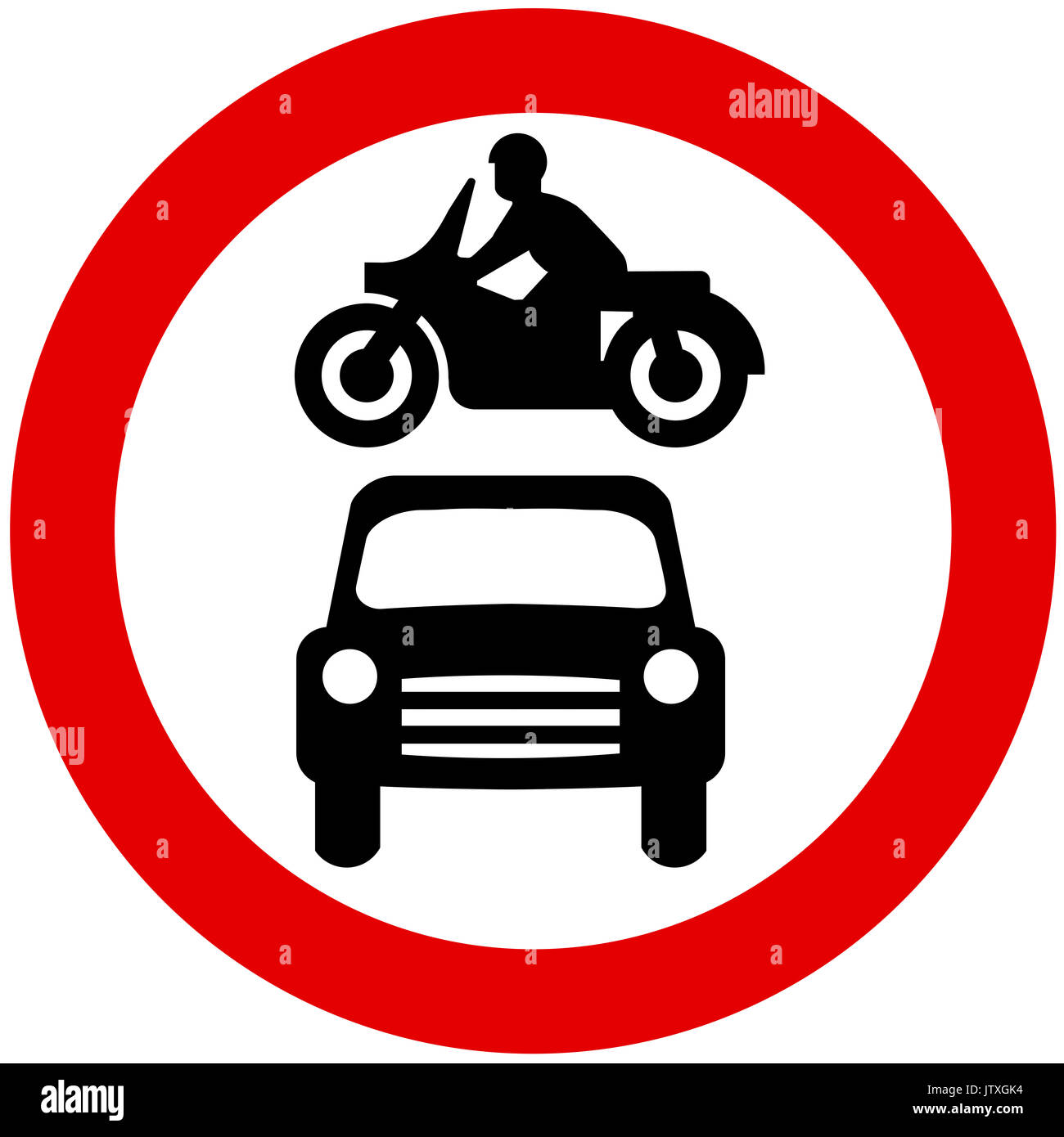No entry to motor vehicles road sign on white background - Stock Image