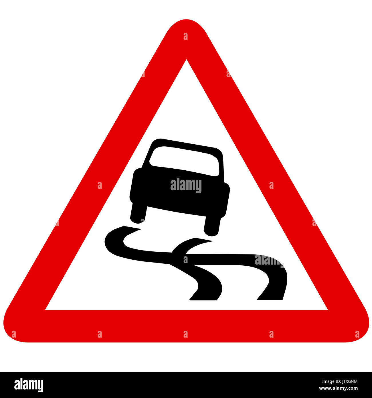 Slippery road road sign on white background - Stock Image