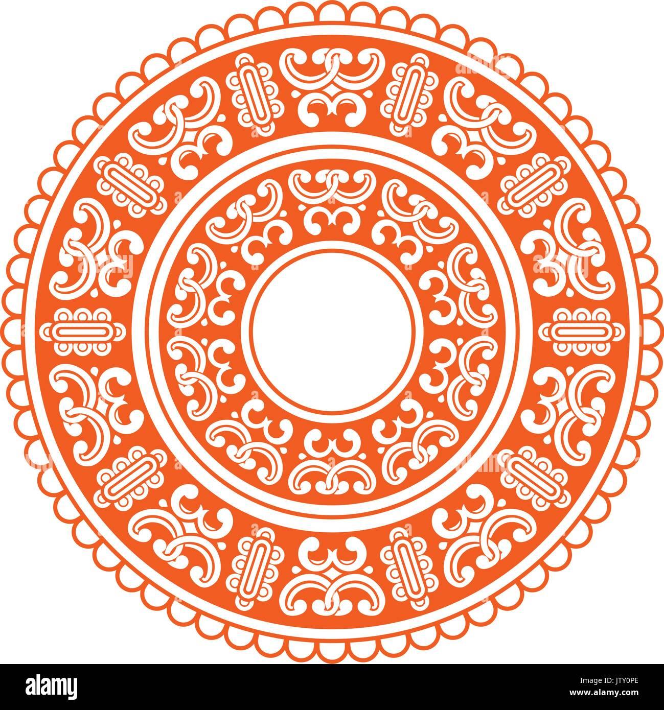 Mandala. Mongolian National ornament element for designers. Stock Vector