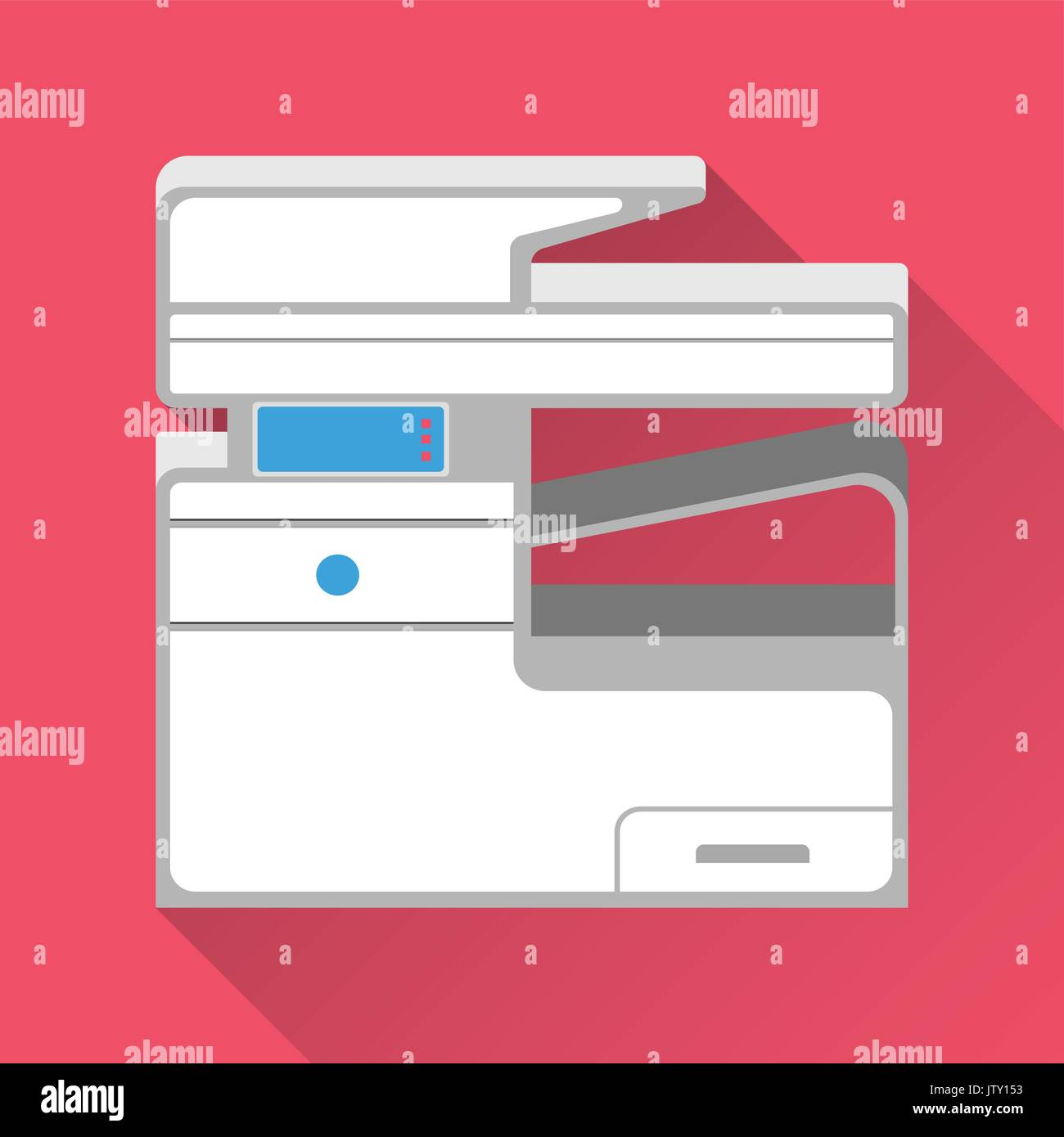 Multifunction Printer and Copier. Flat design. Vector illustration. - Stock Image