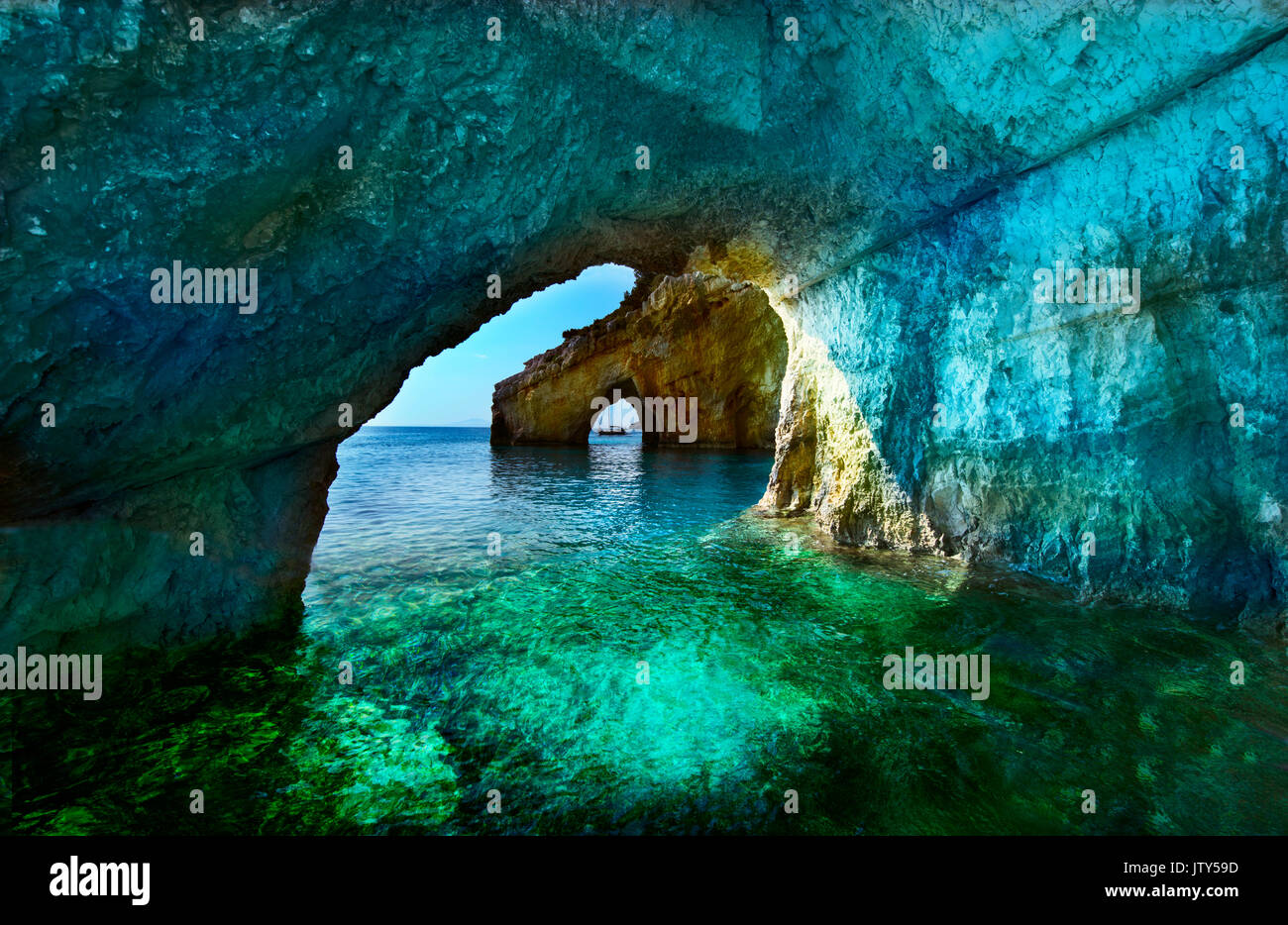 Greece, The island of Zakynthos. One of the most beautiful blue caves in the world. The Ionian Sea.  Blue caves of the island of Zakynthos - Stock Image