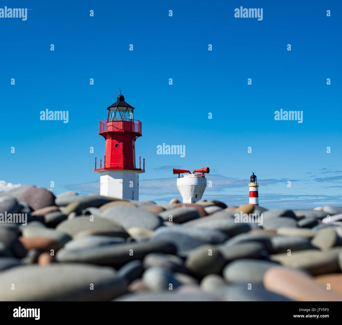 Two lighthouses and fog horn in a row at Point of Ayre - Stock Image