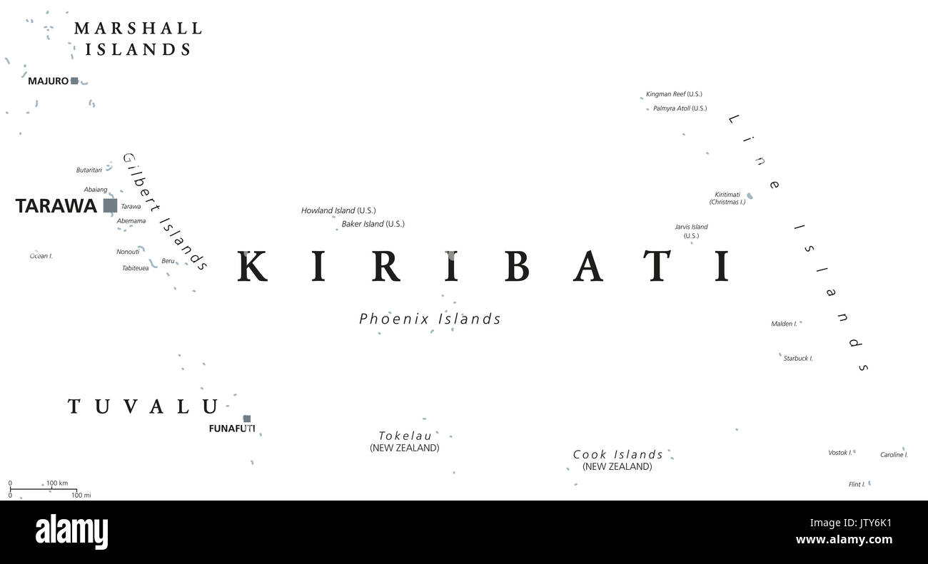 Kiribati political map with capital Tarawa. English labeling. Republic and island nation in the Pacific Ocean. Gray illustration on white background. - Stock Image