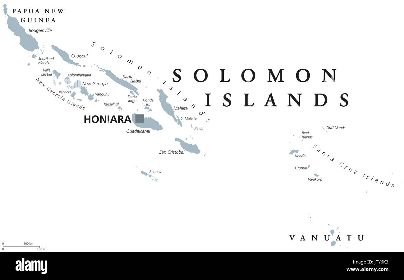 Solomon Islands political map with capital Honiara. English labeling. Sovereign country in Melanesia, Oceania. Gray illustration on white background. - Stock Image