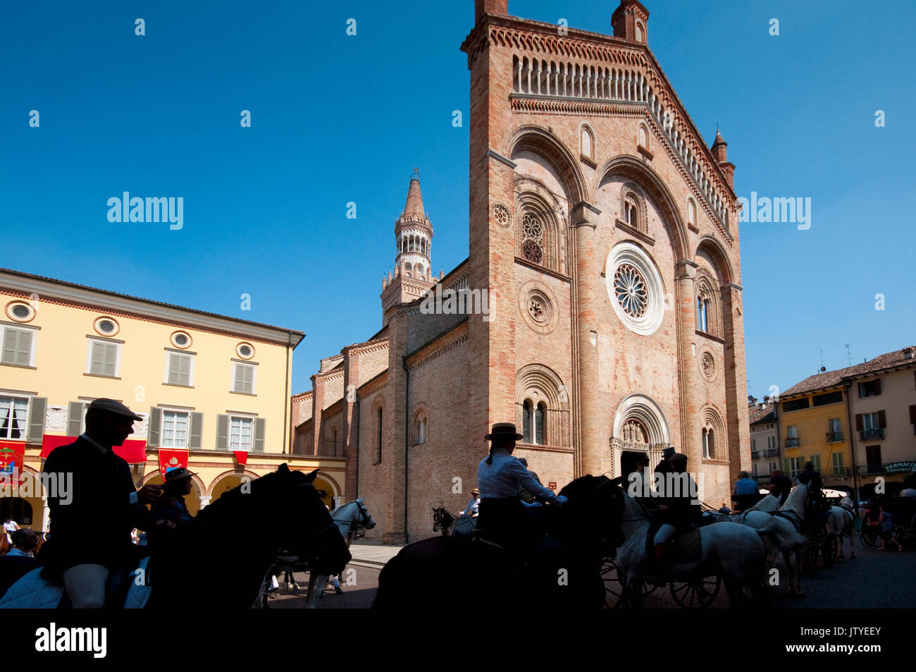 Italy, Lombardy, Crema, Piazza Duomo Square, Horse Show - Stock Image