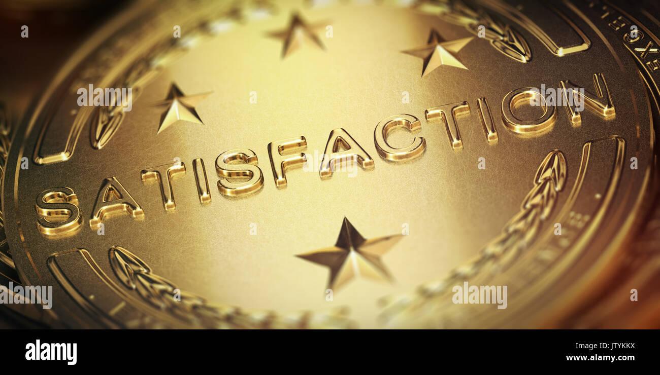 Successful customer satisfaction management. Golden medal, 3D illustration - Stock Image