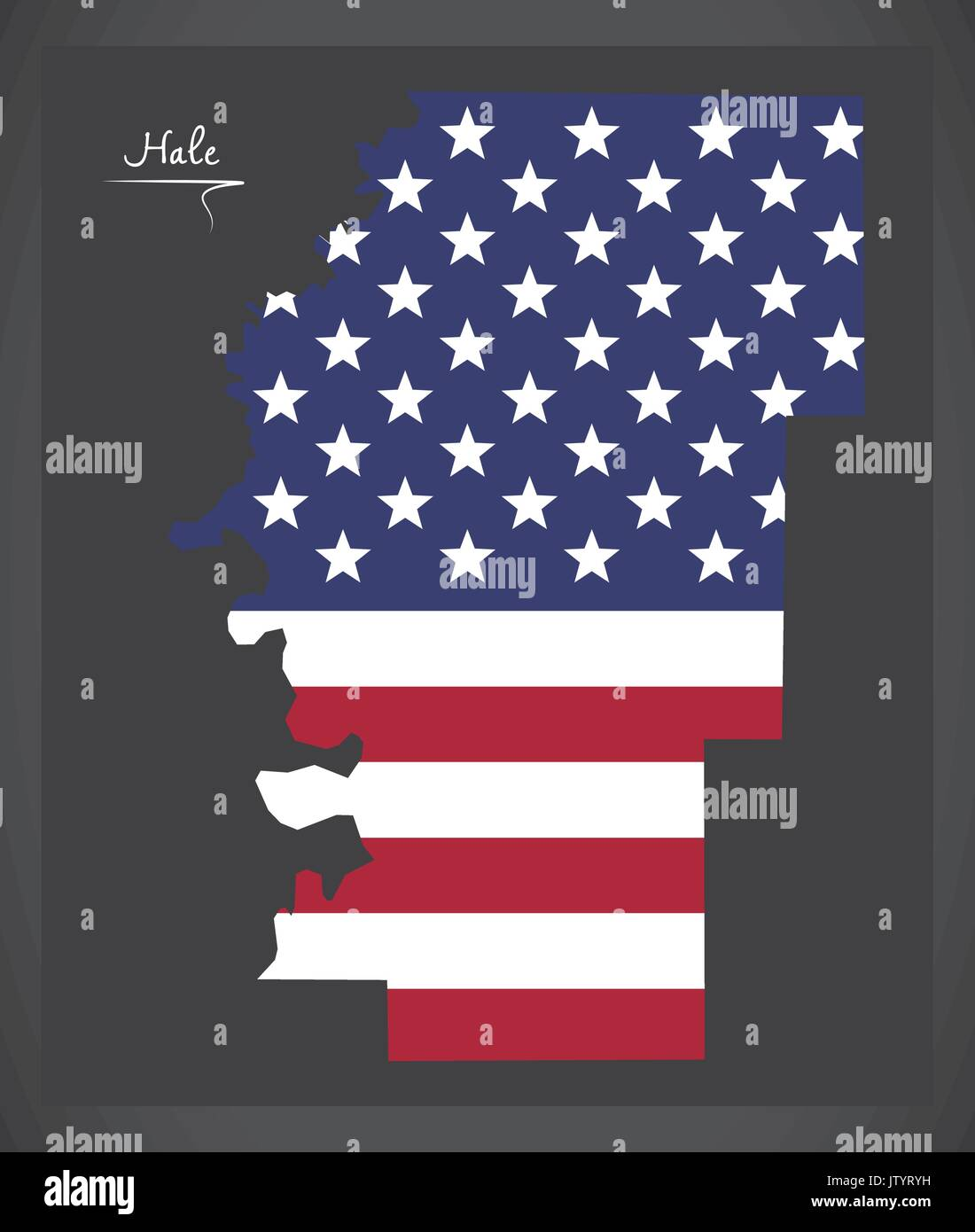 Hale County Map Of Alabama Usa With American National Flag Stock