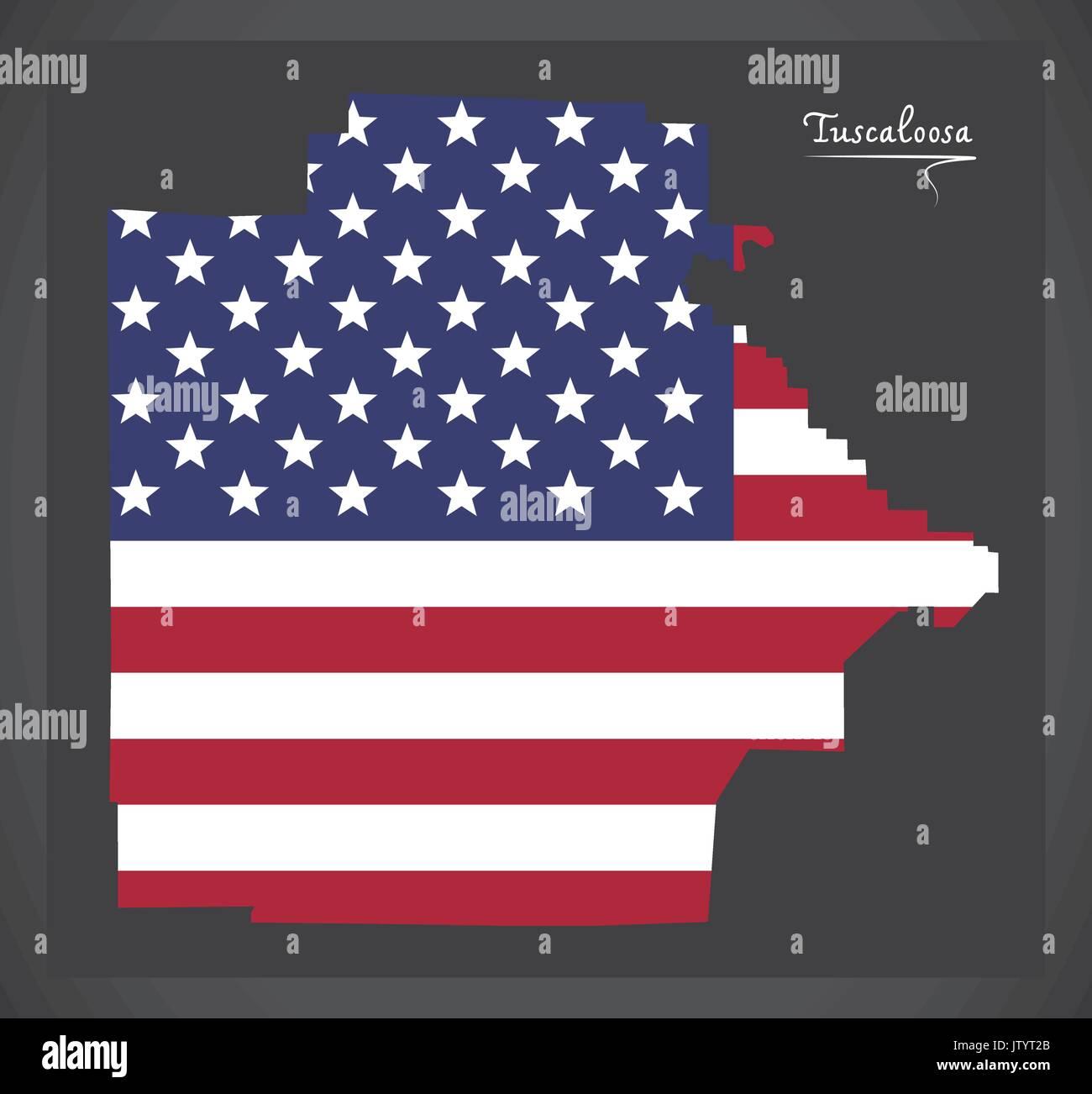 Tuscaloosa county map of Alabama USA with American national flag illustration - Stock Image
