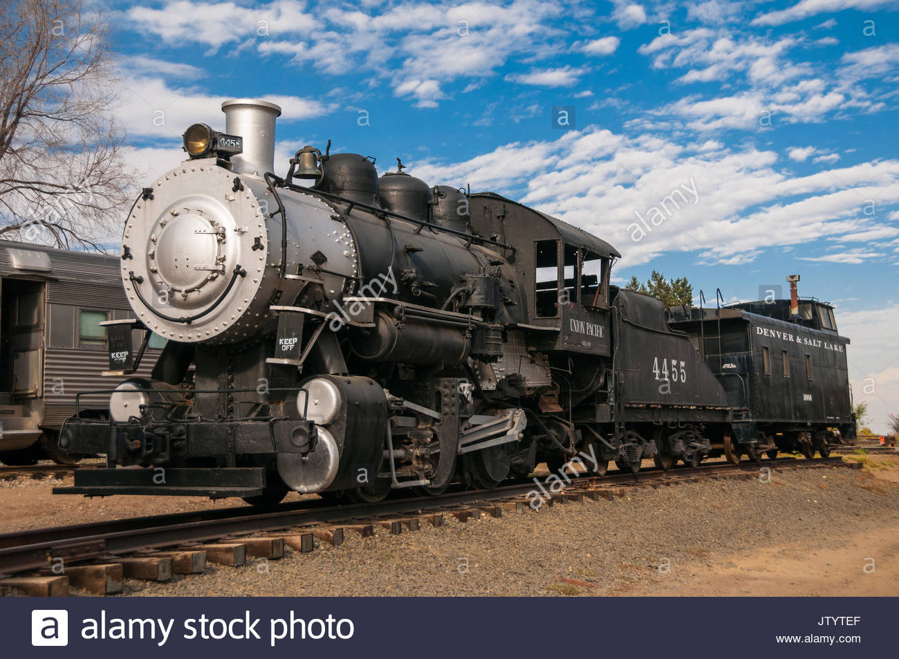 A Union Pacific 0-6-0 switch engine formerly used at Denver's Union Station and later on the Monolith Portland Cement Company operated Laramie Valley  - Stock Image