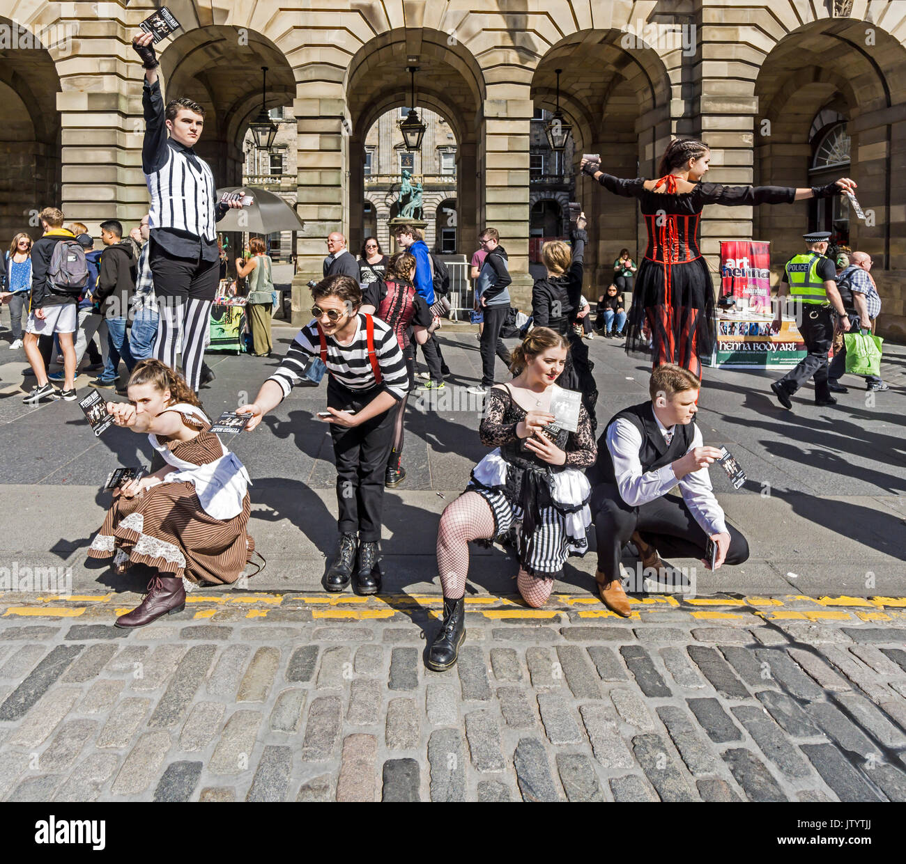 Off the Page Productions promoting Typhoid Mary show at Edinburgh Festival Fringe 2017 in the High Street of the Royal Mile Edinburgh Scotland UK - Stock Image