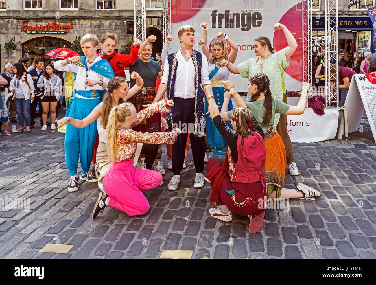 Artistic group Aladdin performing at Edinburgh Festival Fringe 2017 in the High Street of the Royal Mile Edinburgh Scotland UK - Stock Image
