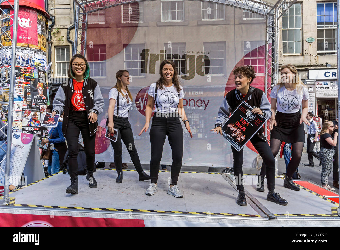 Rolling Tones group promoting their Bows and Braces show at Edinburgh Festival Fringe 2017 in the High Street of the Royal Mile Edinburgh Scotland UK - Stock Image