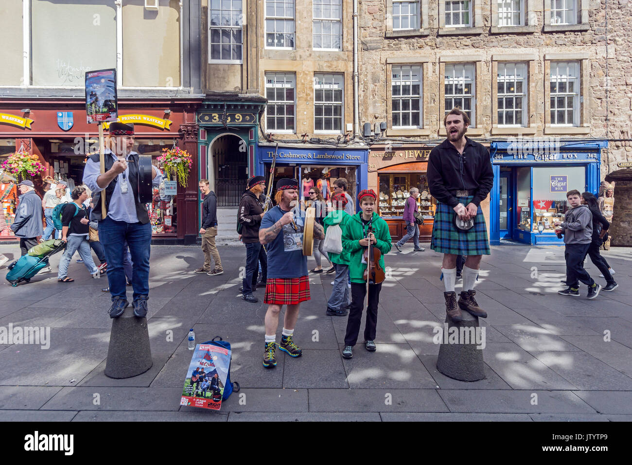 Group promoting the Recovery Version show at Edinburgh Festival Fringe 2017 in the High Street of the Royal Mile Edinburgh Scotland UK - Stock Image
