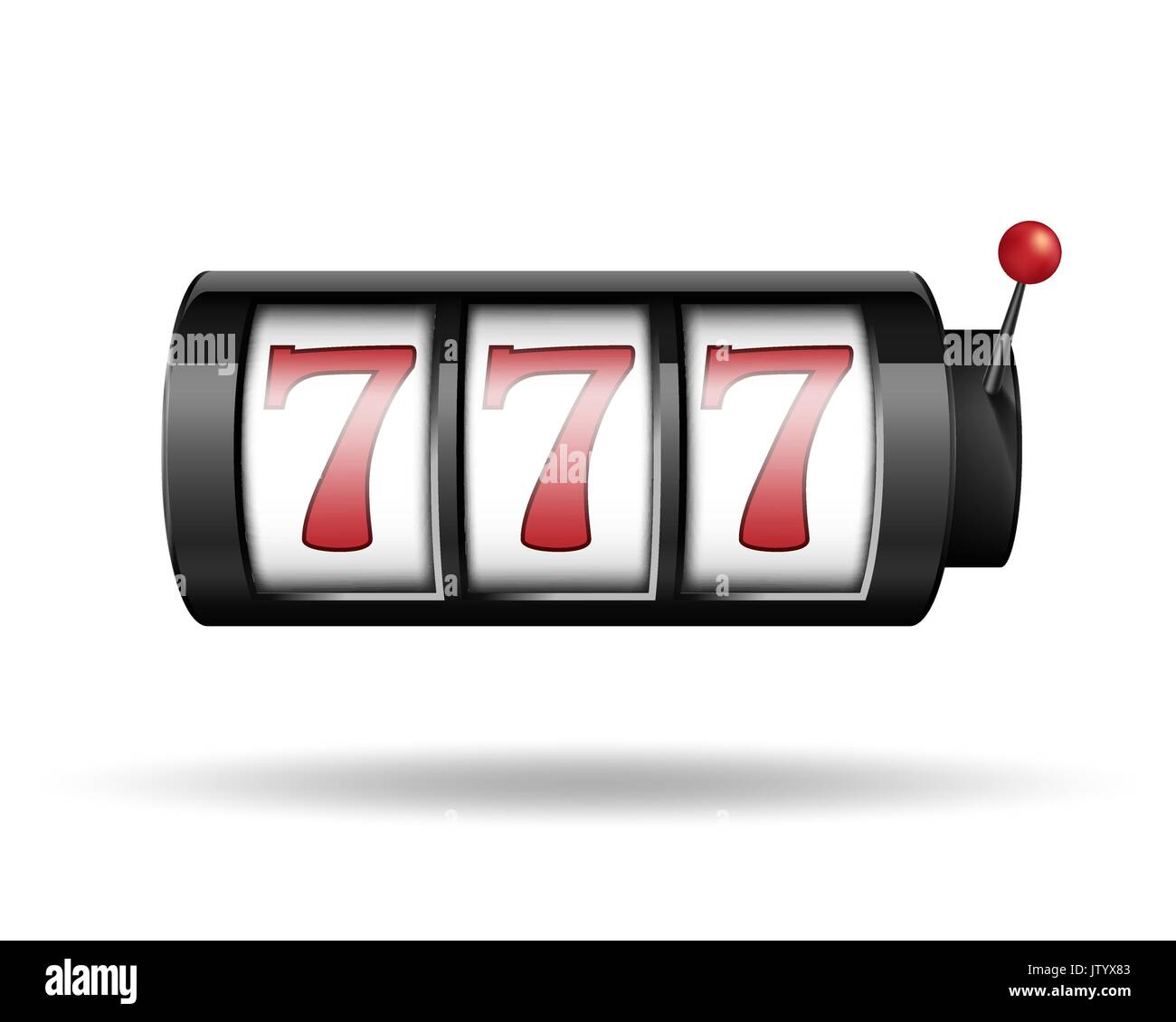 Slot machine with lucky sevens. Gamble game for casino, lucky and success jackpot illustration. Vector. - Stock Image