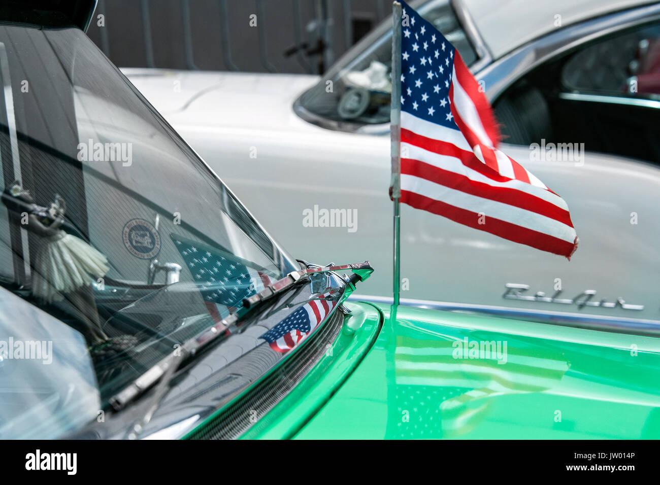 Vintage Car Festival Golden Oldies Little Us Flag On The Antenna