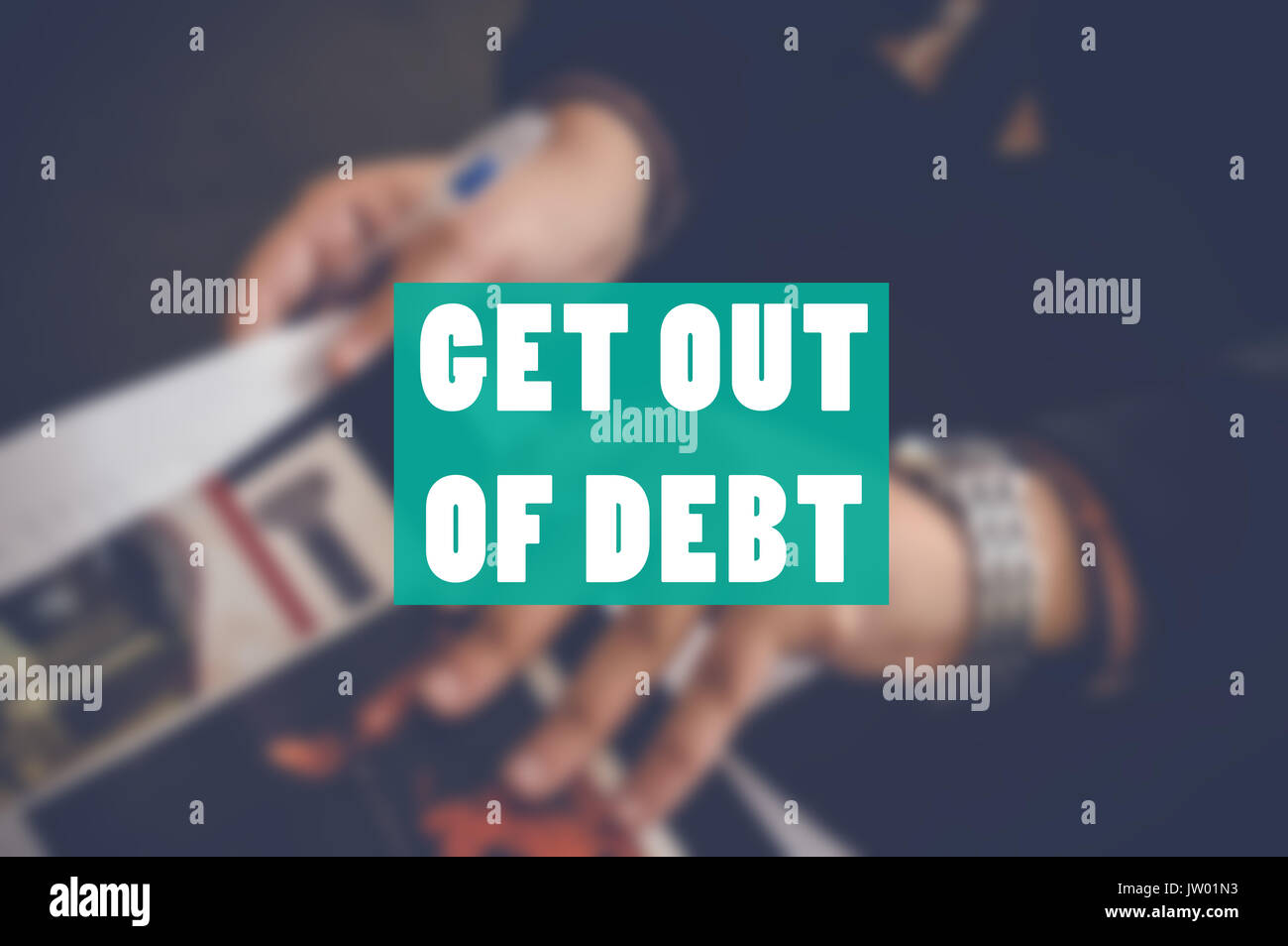 get out of debt business background - Stock Image